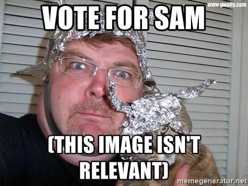 conspiracy nut - vote for sam (this image isn't relevant)
