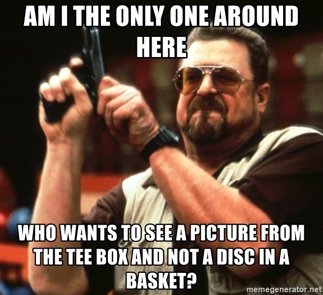 Big Lebowski - am i the only one around here who wants to see a picture from the tee box and not a disc in a basket?