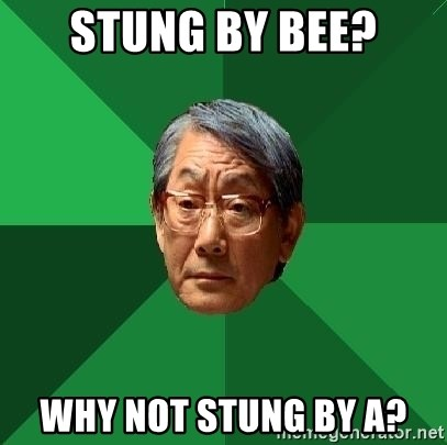 High Expectations Asian Father - Stung by Bee? why not stung by a?