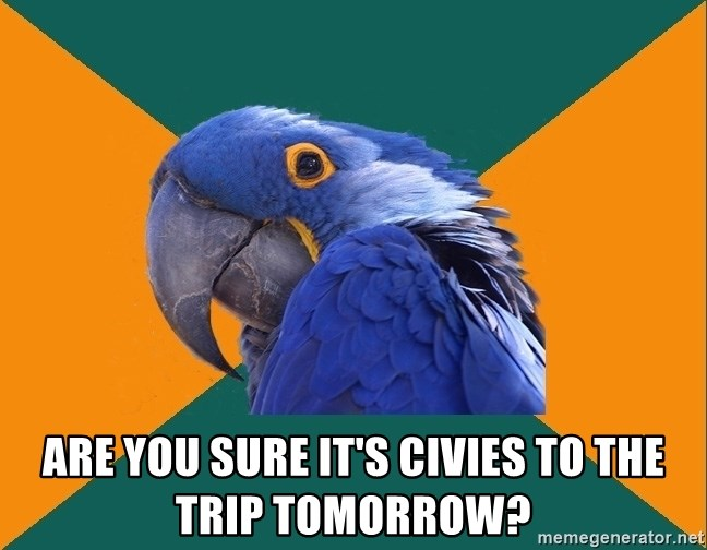 Paranoid Parrot -  Are you sure IT'S CIVIES TO THE TRIP TOMORROW?