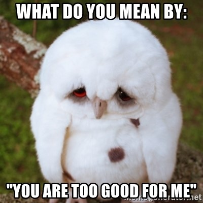 """Sad Owl Baby - what do you mean by: """"You are too good for me"""""""