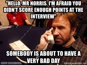 "Chuck Norris on Phone - ""Hello, mr norris. i'm afraid you didn't score enough points at the interview"" somebody is about to have a very bad day"