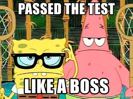 Serious Spongebob - passed the test like a boss