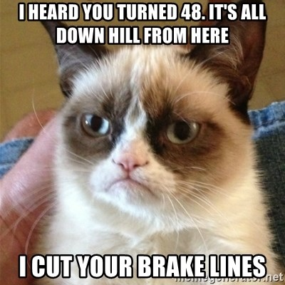 Grumpy Cat  - I heard you turned 48. It's all down hill from here I cut your brake lines