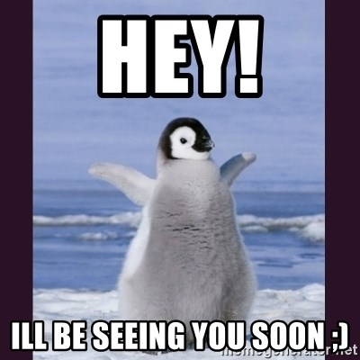 Cute Penguin - Hey! Ill be seeing you soon ;)