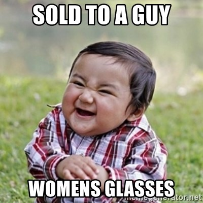 evil toddler kid2 - sold to a guy womens glasses
