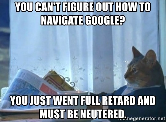 newspaper cat realization - YOu can't figure out how to navigate Google? You just went full retard and must be neutered.