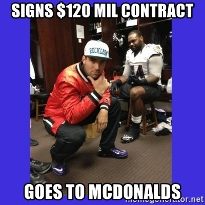 PAY FLACCO - Signs $120 mil contract goes to mcdonalds