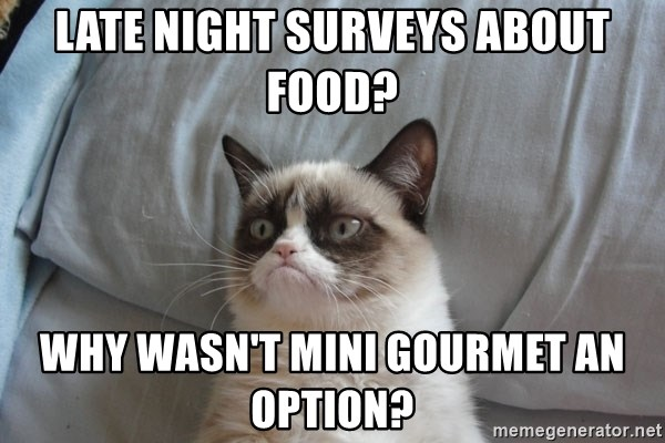 Grumpy cat good - late night surveys about food? Why wasn't mini gourmet an option?