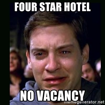 crying peter parker - four star hotel no vacancy