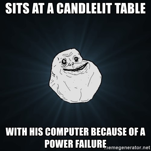 Forever Alone - Sits at a candlelit table with his computer because of a power failure