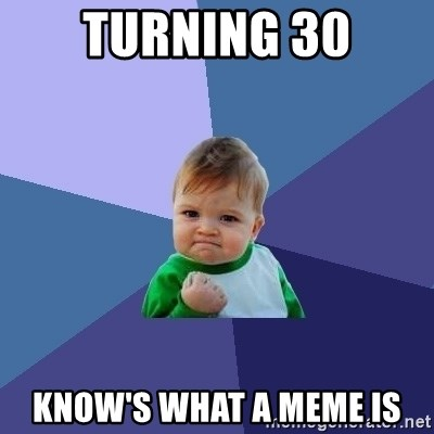 Success Kid - turning 30 know's what a meme is