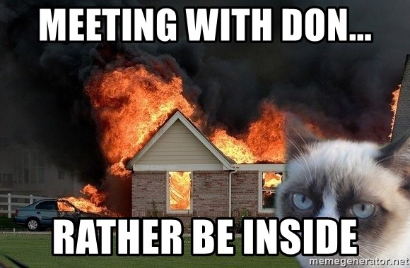 grumpy cat 8 - meeting with don... rather be inside