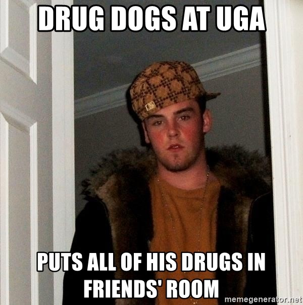 Scumbag Steve - Drug Dogs at uga puts all of his drugs in friends' room