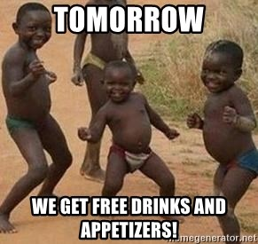 african children dancing - tomorrow we get free drinks and appetizers!