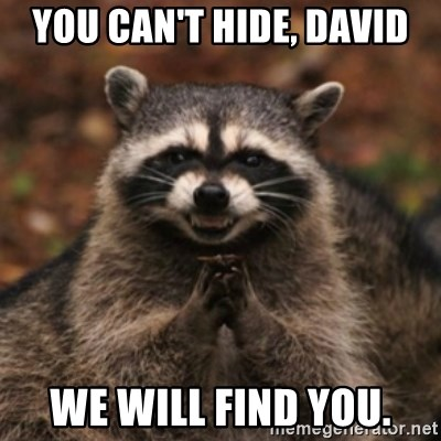 evil raccoon - You can't hide, david we will find you.