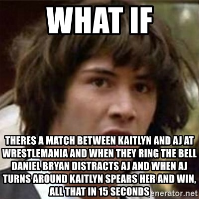 what if meme - what if theres a match between kaitlyn and aj at wrestlemania and when they ring the bell daniel bryan distracts aj and when aj turns around kaitlyn spears her and win, all that in 15 seconds
