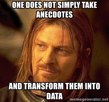 Boromir - One Does Not Simply Take Anecdotes And transform them into data