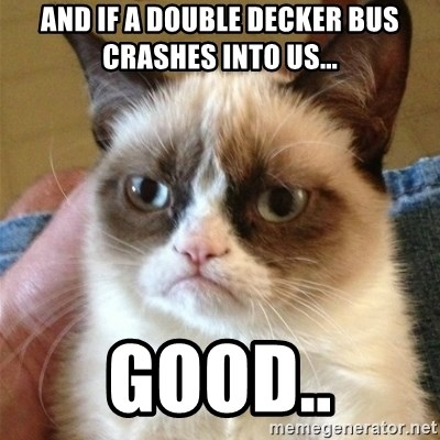 Grumpy Cat  - And if a double decker bus crashes into us... good..