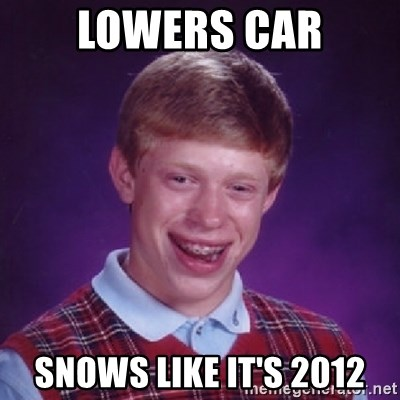 Bad Luck Brian - lowers car snows like it's 2012