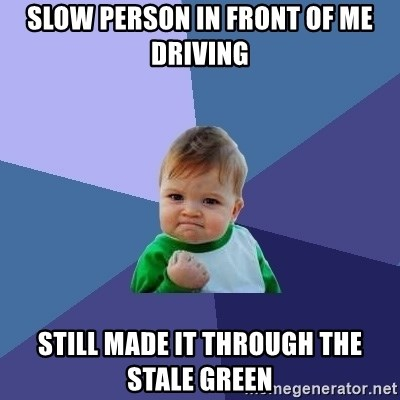 Success Kid - Slow person in front of me driving still made it through the stale green