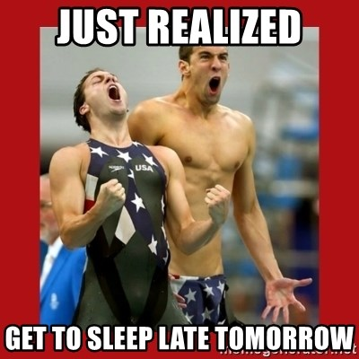 Ecstatic Michael Phelps - just realized get to sleep late tomorrow
