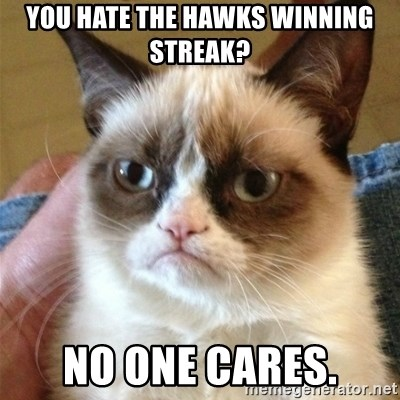 Grumpy Cat  - You hate the Hawks winning streak? no one cares.
