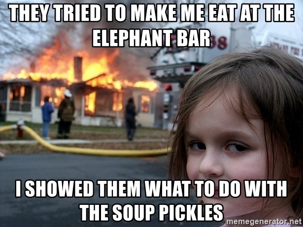 Disaster Girl - They Tried to make me eat at the Elephant Bar I showed them what to do with the soup pickles