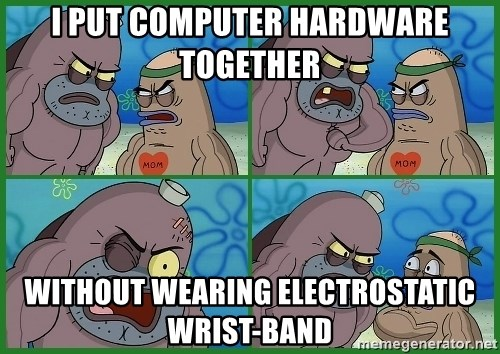 How tough are you - I put computer hardware together without wearing electrostatic wrist-band