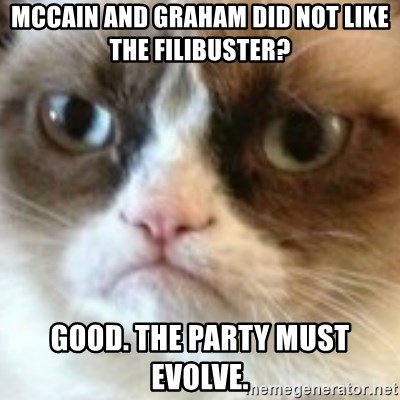 angry cat asshole - Mccain and graham did not like the filibuster? Good. The party must evolve.