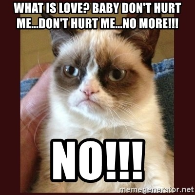 Tard the Grumpy Cat - What is LOVE? Baby don't hurt me...don't hurt me...no more!!! No!!!