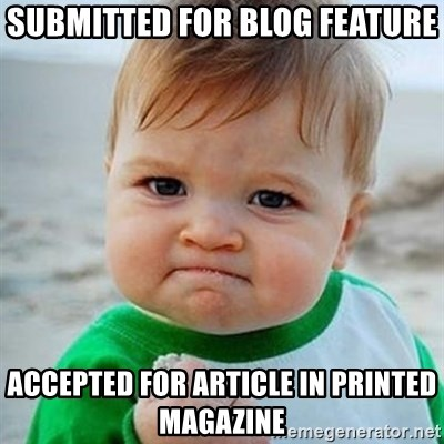 Victory Baby - submitted for blog feature accepted for article in printed magazine