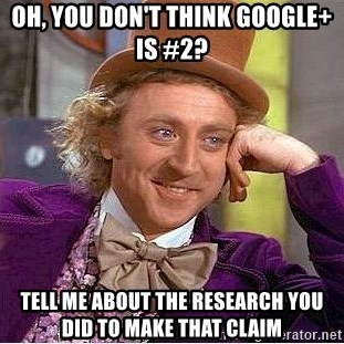 Willy Wonka - Oh, you don't think Google+ is #2? Tell me about the research you did to make that claim
