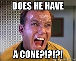 Screaming Captain Kirk - does he have  a cone?!?!?!