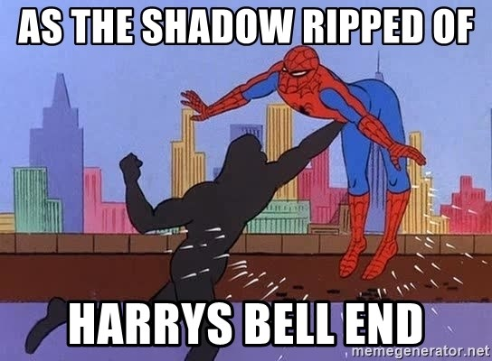 crotch punch spiderman - AS THE SHADOW RIPPED OF  HARRYS BELL END