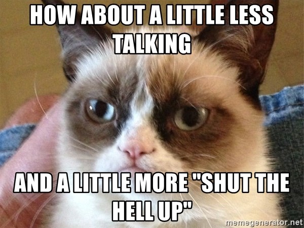 "Angry Cat Meme - how about a little less talking and a little more ""shut the hell up"""