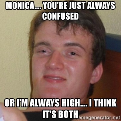 Really Stoned Guy - monica.... you're just always confused or i'm always high.... i think it's both