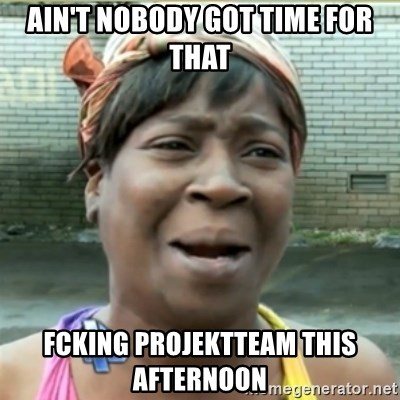 Ain't Nobody got time fo that - AIN'T NOBODY GOT TIME FOR THAT FCKING PROJEKTTEAM this afternoon