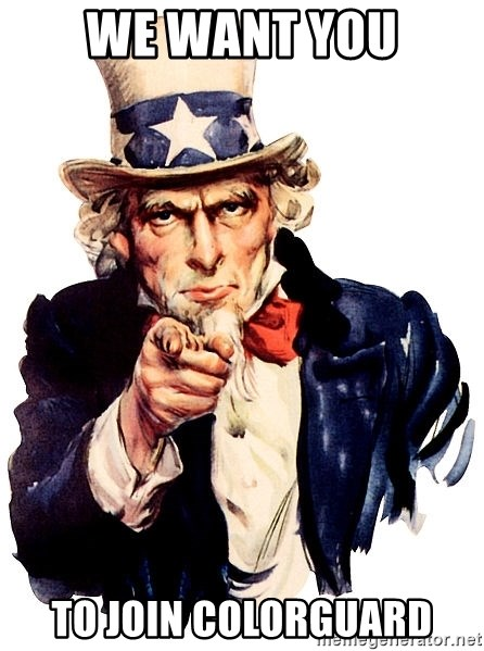 Uncle Sam Point - We want you TO JOIN COLORGUARD