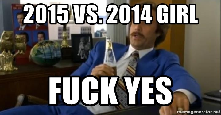 That escalated quickly-Ron Burgundy - 2015 VS. 2014 GIRL FUCK YES
