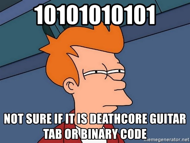 Futurama Fry - 10101010101 not sure if it is deathcore guitar tab or binary code