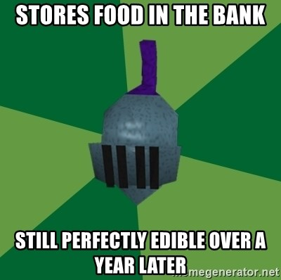 Runescape Advice - Stores food in the bank Still perfectly edible over a year later