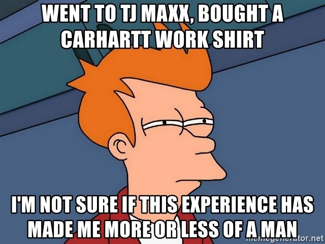 Futurama Fry - Went to TJ MAxx, bought a Carhartt work shirt i'm not sure if this experience has made me more or less of a man