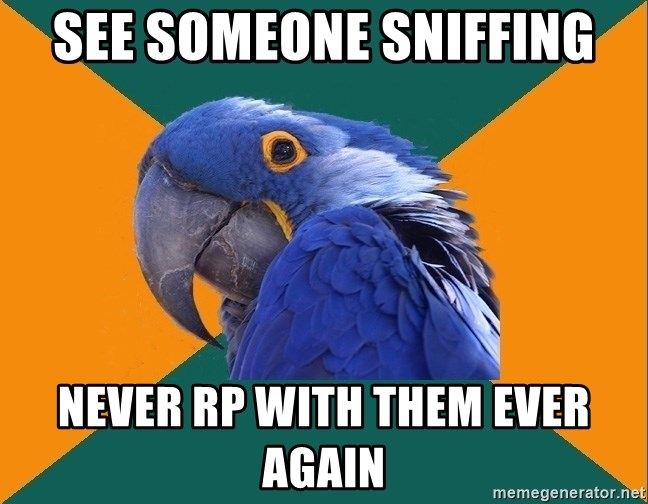 Paranoid Parrot - See someone sniffing never Rp with them ever again