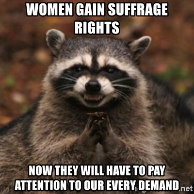 evil raccoon - Women gain suffrage rights now they will have to pay attention to our every demand