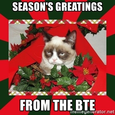 GRUMPY CAT ON CHRISTMAS - season's greatings from the bte