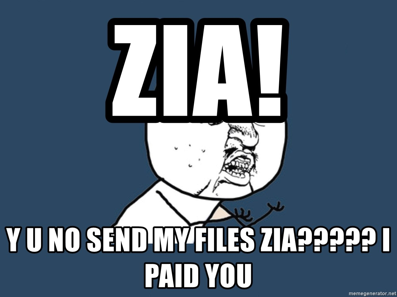 Y U No - ZIA! Y U NO SEND MY FILES ZIA????? i PAID YOU