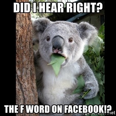 Koala can't believe it - Did I hear right? the F word on Facebook!?