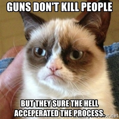 Grumpy Cat  - Guns don't kill people but they sure the hell acceperated the process.