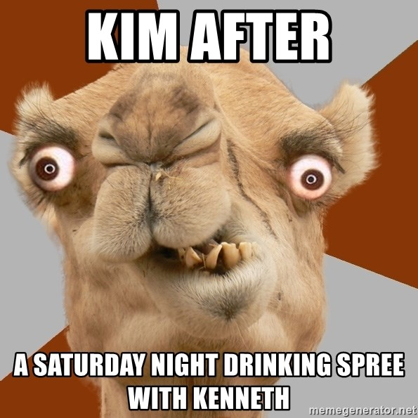 Crazy Camel lol - Kim after A saturday night drinking spree with kenneth